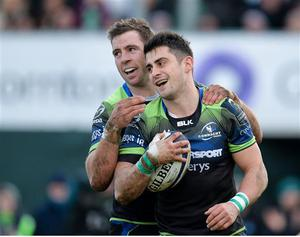 14 January 2017; Tiernan O'Halloran of Connacht is congratulated by teammate Craig Ronaldson after scoring his side's third try during the European Rugby Champions Cup pool 2 round 5 match between Connacht and Zebre at the Sportsground in Galway. Photo by Seb Daly/Sportsfile