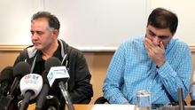 Akhtar Iqbal, the husband of Sugra Dawood (left) and Mohammed Shoaib, the husband of Khadija Dawood at a press conference in Bradford, as fears are growing for the safety of three British sisters believed to have travelled to Syria with their nine children to join up with extremists.  Peter Byrne/PA Wire