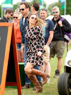 Geri Halliwell and her husband Christian Horner backstage at the Isle of Wight Festival, in Seaclose Park, Newport, Isle of Wight. PRESS ASSOCIATION Photo. Picture date: Sunday June 14, 2015. Photo credit should read: Yui Mok/PA Wire