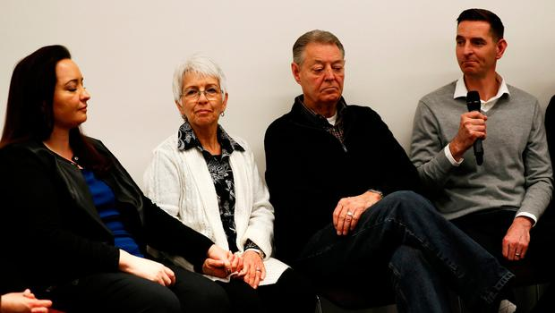 Family members of Westminster Bridge attack victims Melissa and Kurt Cochran attend a news conference at New Scotland Yard, in London. Photo: REUTERS/Stefan Wermuth