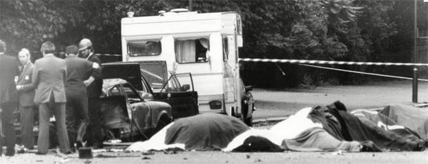 The dead horses of the Household Cavalry, after the 1982 nail bomb blast in Hyde park while they were on way to the changing of the guard at the Buckingham Palace. The IRA claimed responsibility for the attack