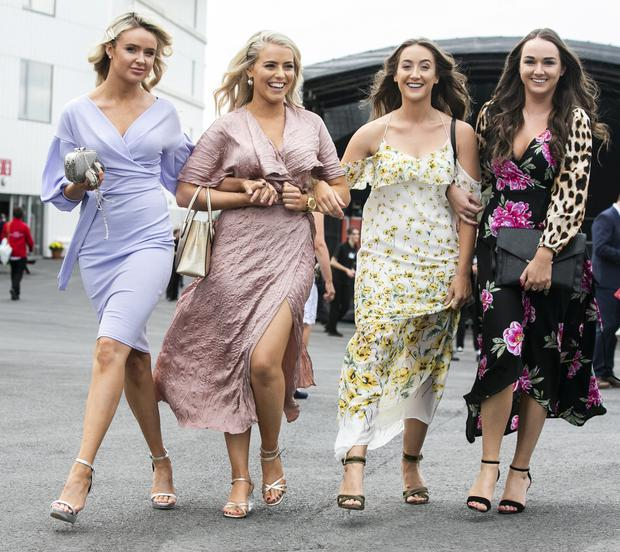 Sophie Trainor, Dublin, Niamh Gunning, Kildare, with Harley Hayes-Restan, Wicklow, and Penny Mitchell, Dublin, at the Galway Races