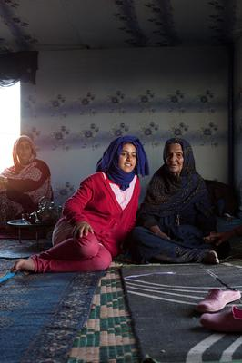 Tearah Salma photographed with her grandmother at home in Smara Refugee Camp, Sahara.  Picture: Clare Keogh