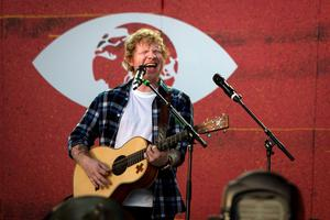 Singer Ed Sheeran performs on stage during the Global Citizen Festival in Central Park in New York