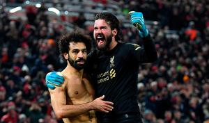 Mo Salah with Alisson Becker. Photo: Michael Regan/Getty Images