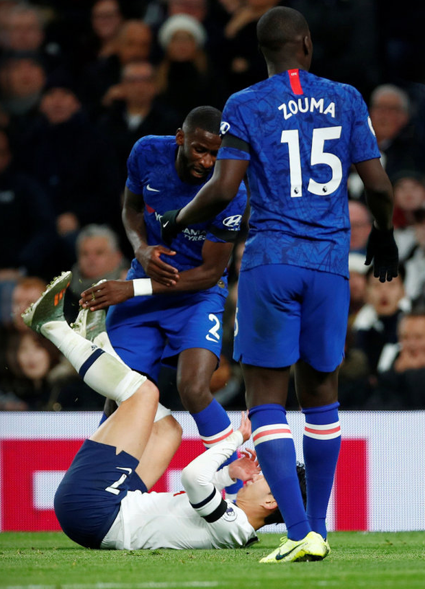 Tottenham Hotspur's Son Heung-min clashes with Chelsea's Antonio Rudiger. Photo: Reuters