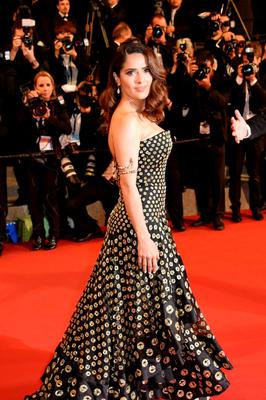 """Mexican actress Salma Hayek poses as she arrives for the screening of the film """"Il racconto dei racconti"""" (Tale of Tales) during the 68th Cannes Film Festival"""