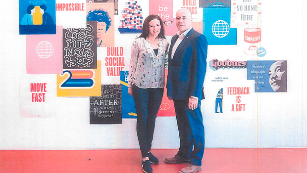 NEW CORRESPONDENCE: Denis Naughten with Facebook chief Sheryl Sandberg at the tech giant's headquarters in California a month after the minister lambasted the company over procedures