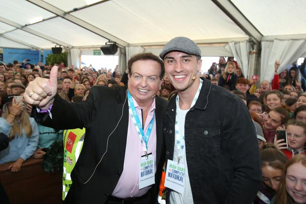 Love Island's Greg O'Shea and RTE's Marty Morrissey. Picture: Stephen Collins/Collins Photos