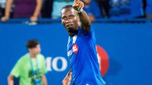 Montreal Impact's Didier Drogba reacts after scoring against the Chicago Fire last night