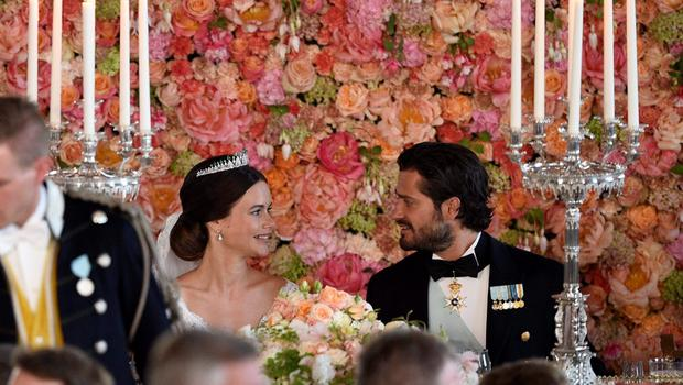 Princess Sofia and Prince Carl Philip attend the wedding dinner in the Royal Palace in Stockholm afterafter their wedding at Stockholm Palace on June 13, 2015. AFP PHOTO / TT NEWS AGENCY / ANDERS WIKLUND +++ SWEDEN OUT +++ANDERS WIKLUND/AFP/Getty Images