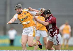 Antrim's Tony McCloskey in action against Alan McGrath