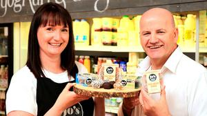 Sean Gallagher with Jo Davey from Dublin-based food company Absolute Nutrition. Photo: Gerry Mooney