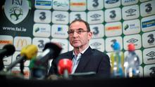 Martin O'Neill fields questions from the press ahead of Ireland's friendly against the USA. Photo: David Maher / SPORTSFILE