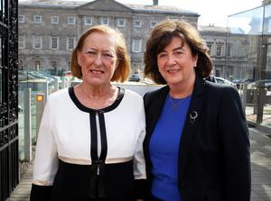 Geraldine Kennedy , former Editor of the Irish Times (left) and Maeve Donovan,former Managing Director of the Irish Times, two of the  witnesses  arriving at the Oireachtas Banking Inquiry at Leinster House Pic Tom Burke 26/3/2015