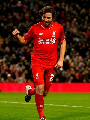 Joe Allen opened up the scoring for Liverpool early in the first half. Photo: PA