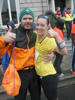 Date : Mon 1.6.15, The VHI Mini Marathon, Dublin, Ireland. Pictured taking part today, start @ 2pm were L to r; Kathryn Thomas, she ran in 52 mins. Padraig McLoughlin was there to meet her. Pics : Mark Doyle 087-2837342, Dublin, Ireland.