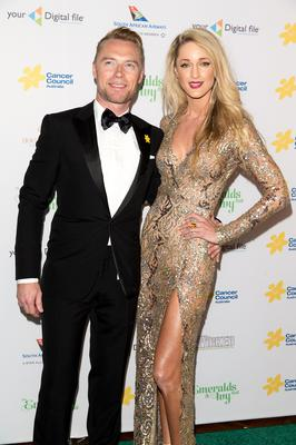 Ronan Keating and Storm Uechtritz arrive at The Emeralds and Ivy Ball at Sydney Town Hall on October 10, 2014 in Sydney, Australia.  (Photo by Caroline McCredie/Getty Images)