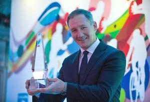 Jim Gavin collects his Philips Sports Manager of the Year prize to become first Dublin boss to claim the accolade