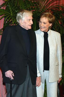 Director Blake Edwards (L) and his wife actress Julie Andrews arrive at the Academy of Motion Pictures Arts and Sciences 23rd Annual Nominees Luncheon at the Beverly Hilton Hotel on February 9, 2004 in Beverly Hills, California
