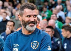 Roy Keane enjoys a smirk ahead of Ireland's friendly win over Oman back in 2014