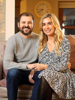 Ciaran Byrne pictured with his wife Denise Kenny Byrne at their home in Glasnevin. Photo: Frank McGrath