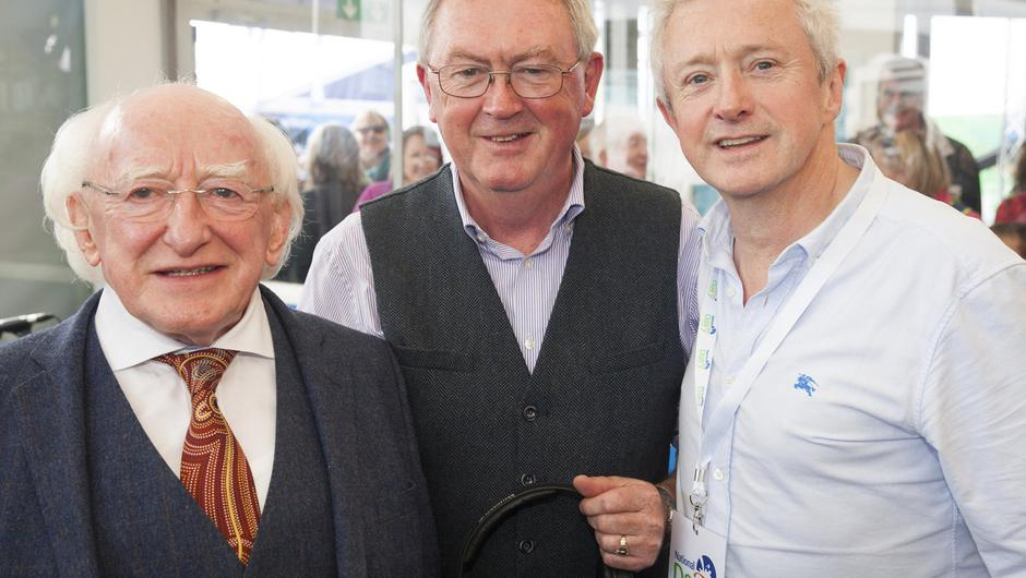 President Michael D. Higgins, Louis Walsh and Séan O'Rourke in the RTÉ stand at the National Ploughing Championships in Screggan, County Offaly. Picture: Kinlan Photography.