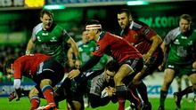 Craig Ronaldson, Connacht, dives over to score his Connacht's second try in their victory against Munster in January