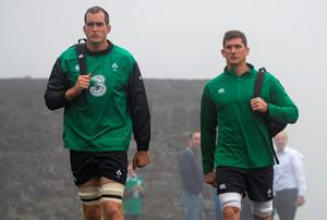 20 November 2014; Ireland's Devin Toner, left, and Robbie Diack during squad training ahead of their side's Guinness Series match against Australia on Saturday. Ireland Rugby Squad Training, Carton House, Maynooth, Co. Kildare. Picture credit: Stephen McCarthy / SPORTSFILE