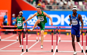 Ireland's Thomas Barr of Ireland on his way to finishing fourth in the Men's 400m Hurdles semi-finals during day two of the World Athletics Championships 2019 at Kahifa International Stadium in Doha, Qatar. Photo: Sam Barnes/Sportsfile