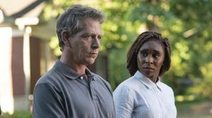 Ben Mendelsohn as cop Ralph Anderson and Cynthia Erivo as private eye Holly Gibney in The Outsider.
