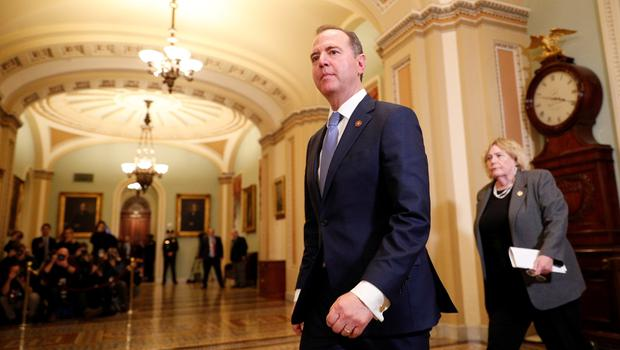 Lead House impeachment manager Rep. Adam Schiff (D-CA) leads fellow impeachment managers including Rep. Zoe Lofgren (D-CA) into the Senate Chamber ahead of expected final votes in the Senate impeachment trial of U.S. President Donald Trump on Capitol Hill in Washington, U.S., February 5, 2020.  REUTERS/Tom Brenner