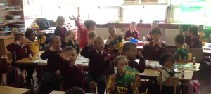 Pupils of Moyderwell Mercy Primary School in Tralee showing where their allegiance lies