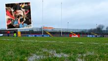 The Omagh pitch before Throw In and (inset) half-time tunnel brawl