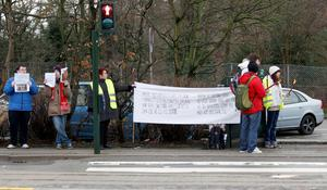 People protest outside Copenhagen Zoo where Marius a male giraffe, was put down on Sunday. AP