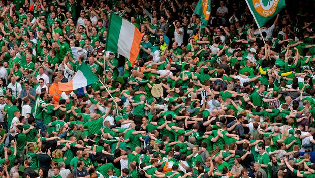 13 June 2015; Republic of Ireland supporters cheer after their side's first goal. UEFA EURO 2016 Championship Qualifier, Group D, Republic of Ireland v Scotland, Aviva Stadium, Lansdowne Road, Dublin. Picture credit: Brendan Moran / SPORTSFILE