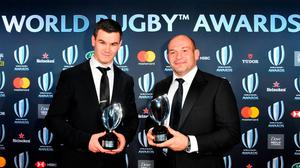 World Rugby Men's 15s Player of the Year award winner Johnny Sexton (L) and Irish national team captain Rory Best pose with their trophies during the World Rugby Awards on November 25, 2018 at the Monte-Carlo Sporting Club in Monaco. (Photo by YANN COATSALIOU / AFP)YANN COATSALIOU/AFP/Getty Images