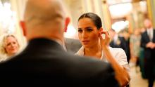 Meghan chats to guests at the annual Endeavour Fund Awards at Drapers Hall, London. Photo: Tolga Akmen/PA Wire