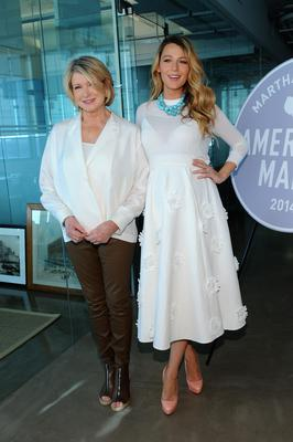 Attending a lifestyle event with Martha Stewart, Blake brightened up winter in a white Michael Kors top and skirt with statement turquoise necklace.