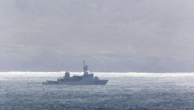 The LE Roisin pictured on its search for missing Coast Guard Crew members at Blacksod Bay. PIC COLIN O'RIORDAN