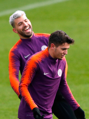 Brahim Diaz, who is joining Real Madrid from Manchester City for £22m, pictured enjoying training with Sergio Aguero. Photo: Reuters/Lee Smith/File Photo