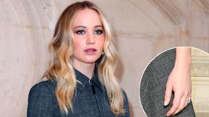 Jennifer Lawrence at a Christian Dior show in Paris, centre, and a close-up of her engagement ring, bottom right