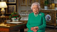 Britain's Queen Elizabeth II records her address to the UK and the Commonwealth in relation to the coronavirus epidemic at Windsor Castle, west of London