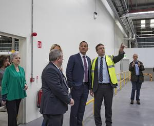 Taoiseach Leo Varadkar with Ministers Kevin Moran and Helen McEntee being given a tour by Barry Delaney, Chief Plant Health Officer, Dept of Agriculture at Dublin port. Picture: Arthur Carron
