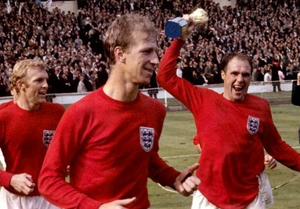 Jack Charlton celebrating England's 1966 World Cup final win with captain Bobby Moore and Ray Wilson (right) after their dramatic victory over West Germany PA. Photo: PA