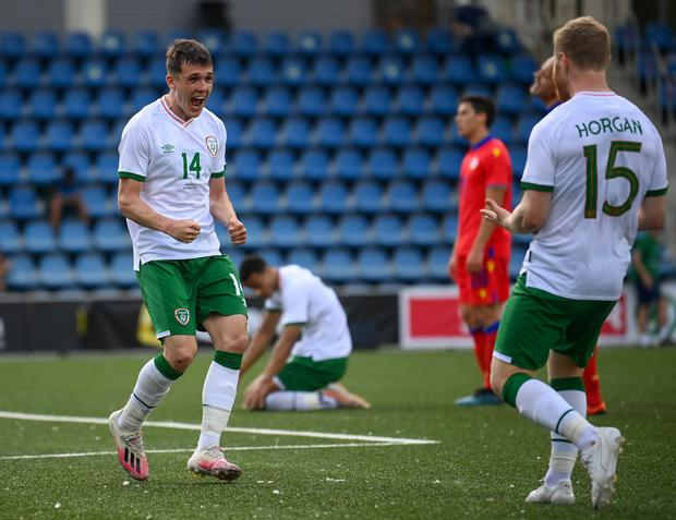 Jason Knight got on the score-sheet in the 4-1 win over Andorra. Photo by Stephen McCarthy/Sportsfile