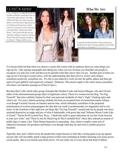 Olivia Munn wrote a lengthy essay in response to a criticism about her outfit