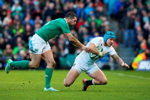 DUBLIN, IRELAND - MARCH 01:  Jack Nowell of England is brought down by Rob Kearney of Ireland during the RBS Six Nations match between Ireland and England at the Aviva Stadium on March 1, 2015 in Dublin, Ireland.  (Photo by Alex Livesey/Getty Images)