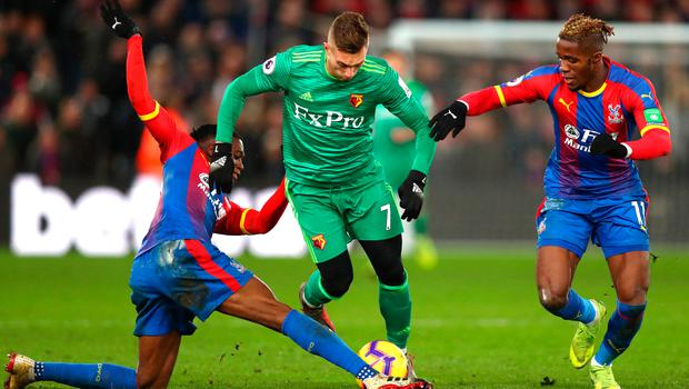 Watford's Gerard Deulofeu of Watford tries to get between Crystal Palace's Aaron Wan-Bissaka and Wilfried Zaha. Photo: Getty Images