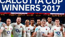 England's Dylan Hartley and team mates celebrate with the Calcutta Cup